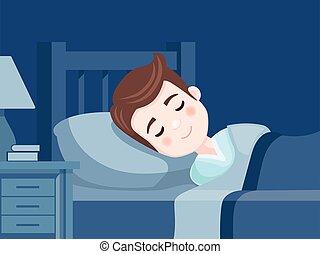 bed., dolce, night., dreams., vettore, illustrazione, camera letto, ragazzo, in pausa