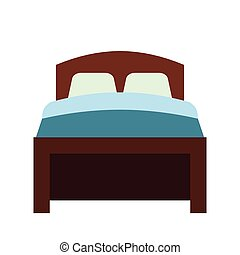Bed flat icon isolated on white background