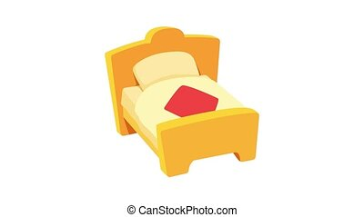 Bed animation of cartoon icon on white background