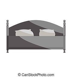 Bed icon, black monochrome style