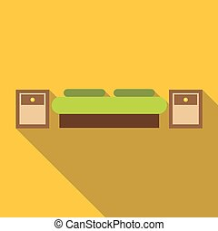 Bed icon, flat style
