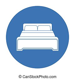 Bed icon in black style isolated on white background. Hotel symbol stock vector illustration.
