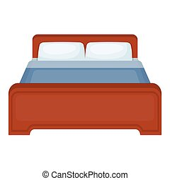 Bed icon in cartoon style isolated on white background. Hotel symbol stock vector illustration.