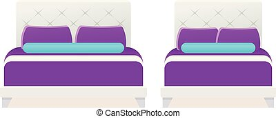 Bed icon in flat design. Vector cartoon illustration.