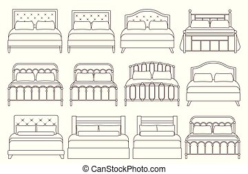 Bed icon in flat design. Vector illustration.