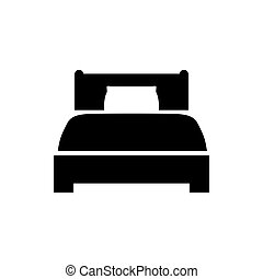 Bed icon in flat style. Hotel symbol