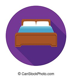 Bed icon in flat style isolated on white background. Hotel symbol stock vector illustration.