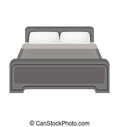 Bed icon in monochrome style isolated on white background. Hotel symbol stock vector illustration.