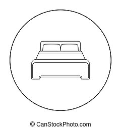 Bed icon in outline style isolated on white background. Hotel symbol stock vector illustration.