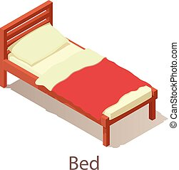 Bed icon, isometric style.