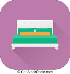 Bed icon. Vector. Flat design with long shadow.