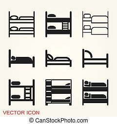 Bed icon vector, flat symbol on background.