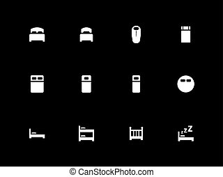 Bed icons on black background.