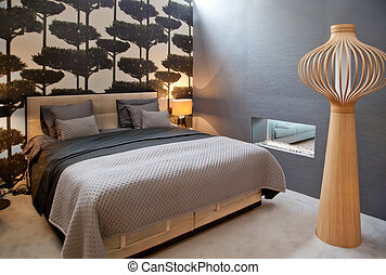 bed in classic style - design of bed room in monochrome...