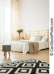Bed in cozy bedroom - Double bed in cozy modern bedroom full...
