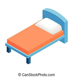 Bed in hotel isometric 3d icon
