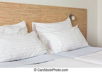 Bed in Hotel room - Prepared fresh bed, scene in hotel room...