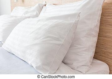 Bed in Hotel room - Prepared fresh bed, scene in hotel room....