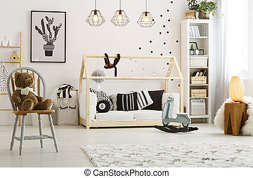 Bed in the room - Modern designed wooden bed for baby in...