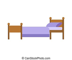 Bed isolated. Blanket and pillow. Vector illustration