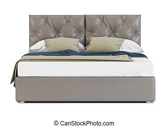 Bed isolated on white background. 3D rendering.