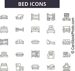 Bed line icons for web and mobile design. Editable stroke ...