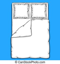 Bed linen template with pillows, duvet cover and sheet