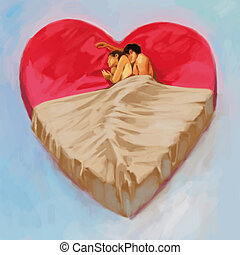 Bed of love - Two people lie closely and narrow on the bed...