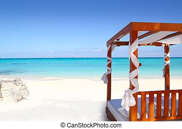 bed of wood in beach caribbean sea sand