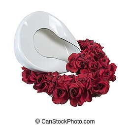 Bed Pan in a Bed of Roses