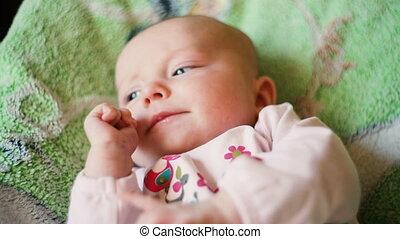 bed, pasgeboren baby, schattig, het leggen
