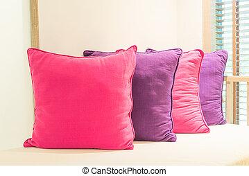 Bed pillow in bedroom