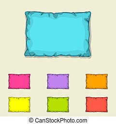 Bed pillow templates. Set of multicolored pillows. Sketch...