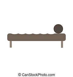 Bed side view vector icon comfortable apartment. Bedding room luxury pictogram mattress interior