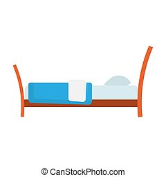 Bed side view vector icon comfortable apartment. Bedding room luxury pictogram mattress interior. Flat wooden furniture