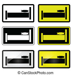 Bed sign - Set of illustrations showing a sign with a bed,...