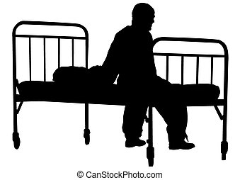 Silhouette of sick man in pajamas near bed