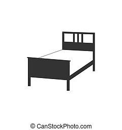Bed, sleep icon. Vector illustration, flat design.