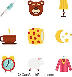 Bed time rest icon set, flat style