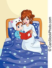 Bed Time Story - Cartoon illustration of a mother...