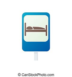 Bed traffic sign icon, cartoon style