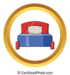 Bed vector icon, cartoon style
