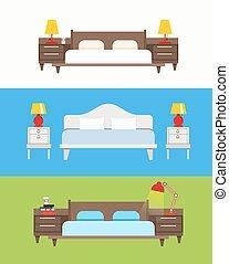 Bed vector set. Modern bedroom interior. Wooden furniture...