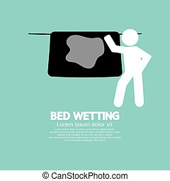 Bed Wetting Symbol Vector Illustration