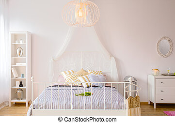 Bed with canopy and headboard