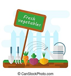 bed with fresh vegetables