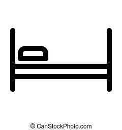 Bed with pillow line icon. Medical symbol, sign.