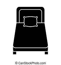 bed with pillow silhouette style icon