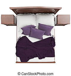 Bed with pillows and blanket cover, top view