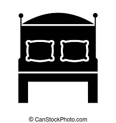 bed with pillows silhouette style icon